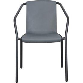 Alba havestol, stabelbar, sort/grå
