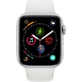 Apple Watch Series 4 GPS, 44mm sølv, hvid rem