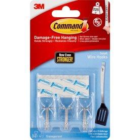 Command Trådkroge m. gennemsigtige strips, små