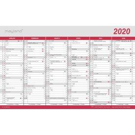Mayland Stor kontorkalender med flagdage, 2x6 mdr.