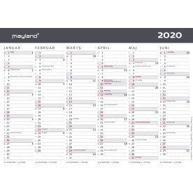 Mayland A5 kontorkalender, 2x6 måneder, moderne