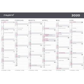 Mayland A4 kontorkalender, 2x6 måneder, moderne