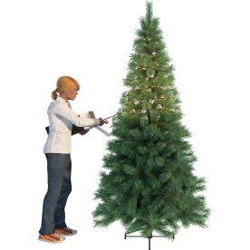 Lyskæde med 37 stk. julekugler, sølv, 550 LED